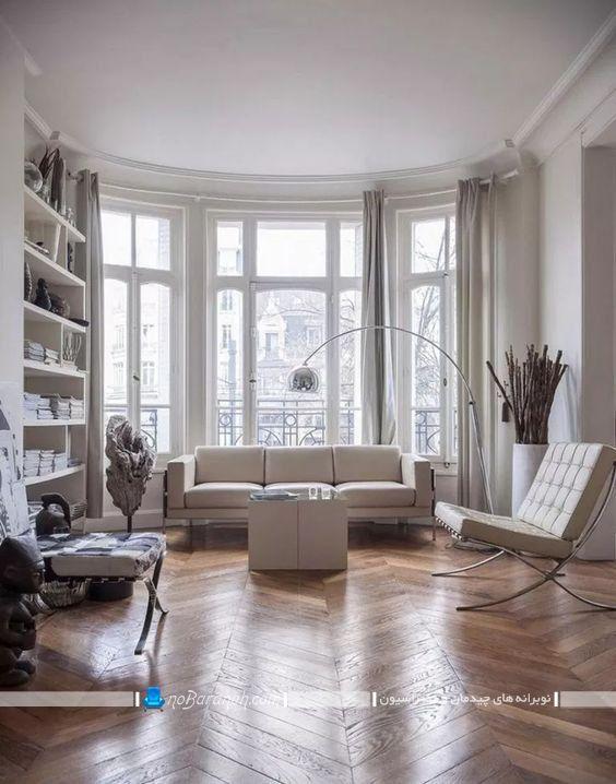 تزیین اتاق پذیرایی به سبک فرانسوی و پاریسی با هزینه کم و ارزان قیمت. مدل چیدمان ساده و شیک اتاق پذیرایی با مبل ساده سفید رنگ به همراه عکس.