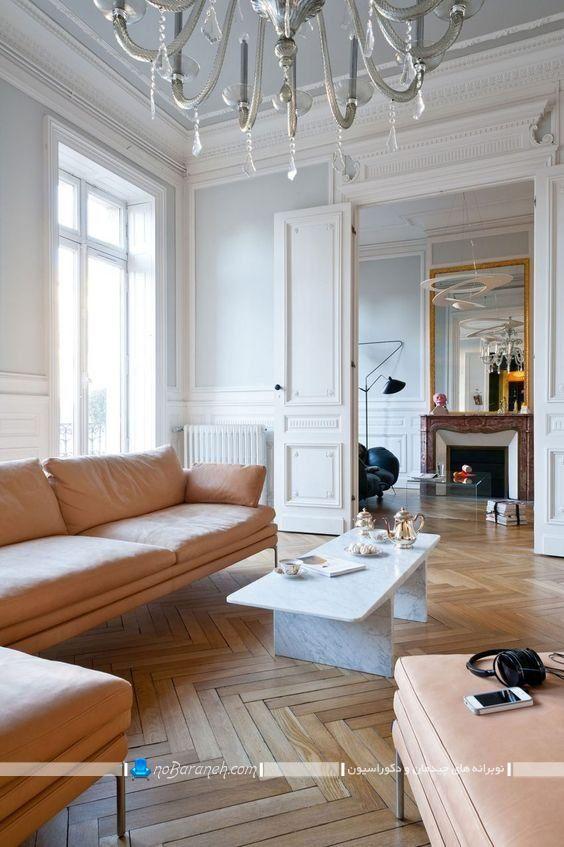 طراحی دکوراسیون اتاق پذیرایی فرانسوی کلاسیک سنتی شیک. مدل های گچبری برای اتاق پذیرایی با سقف و دیوار پذیرایی با عکس.