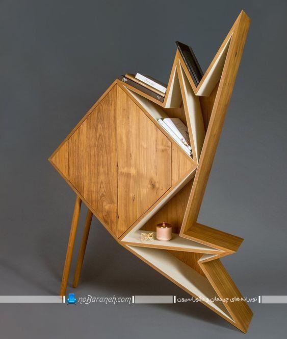 کتابخانه چوبی خانگی برای اتاق خواب و پذیرایی ، مدل جدید کتابخانه خانگی مدرن و چوبی با طرح فانتزی