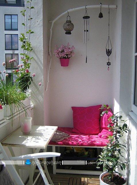 چیدمان و تزیین بالکن و تراس کوچک ، تزیین تراس کوچک با گلهای زیبا و گلدان، تزیینات بالکن خانه