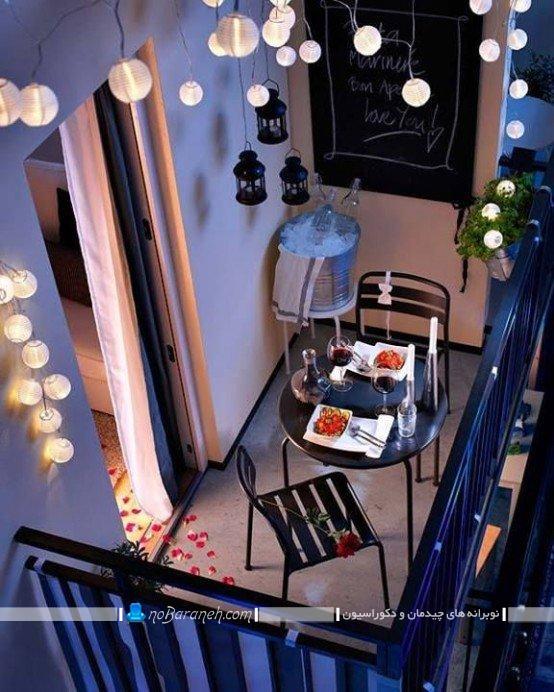 دکوراسیون تراس کوچک و نقلی ، چیدمان میز و صندلی در تراس خانه و منزل ، تزیین بالکن و ایوان به شکل شیک و مدرن