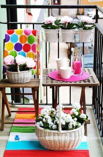 تزیین و چیدمان بالکن و تراس کوچک ، چیدمان میز و صندلی در تراس و ایوان ، دیزاین بالکن به شکل زیبا با هزینه کم و ارزان