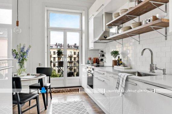 دیزاین آشپزخانه با کابینت سفید های گلاس