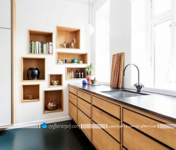دکوراسیون مدرن آشپزخانه با سفید و قهوه ای