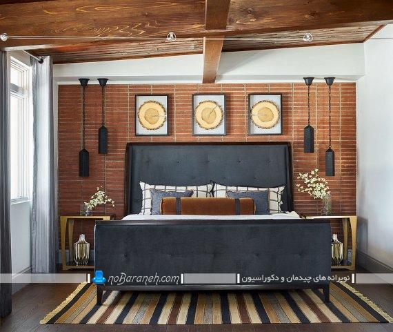 دیوارپوش آجری برای اتاق عروس ، دکوراسیون شیک اتاق خواب با دیوارپوش آجری و سقف چوبی، مدل تخت خواب روستیک و روستایی سنتی