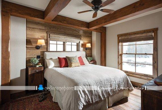 دیوارپوش و کفپوش چوبی اتاق روستیک سنتی ، تزیین اتاق خواب عروس با چوب به سبک روستایی ، دیزاین سنتی و شیک اتاق عروس روستیک