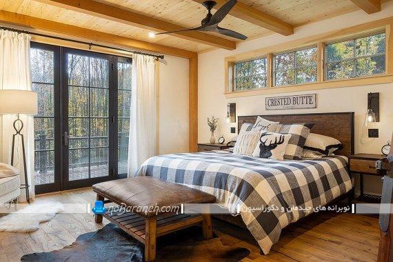 دکوراسیون روستیک با سقف و کفپوش چوبی ، طراحی دکوراسیون و دیزاین اتاق خواب روستایی ، عکس چیدمان اتاق خواب روستایی نیمه سنتی