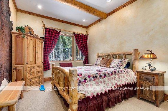 عکس اتاق خواب روستیک ، سبک روستیک در معماری داخلی اتاق خواب، عکس اتاق خواب روستایی با سرویس خواب چوبی و کمدهای چوبی