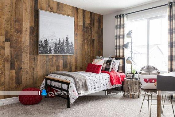 عکس اتاق خواب روستیک با دیوارپوش چوبی ، سبک معماری روستیک در اتاق خواب / عکس