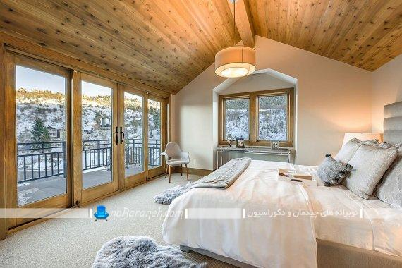 مدل سقف اتاق خواب روستیک ، دیزاین اتاق خواب به سبک روستایی و روستیک. دکوراسیون چوبی و شیک اتاق عروس
