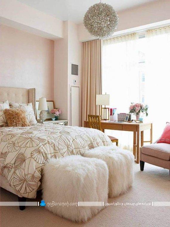 مدل اتاق خواب عروس با طراحی شیک و ارزان قیمت ، دیزاین اتاق عروس و داماد با رنگ های روشن گل بهی و صورتی و کرم / عکس