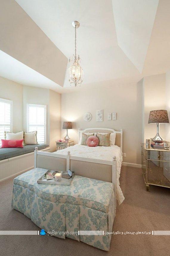 دیزاین اتاق خواب عروس و داماد با رنگ سفید ، چیدمان مبلمان ارزان قیمت در اتاق عروس ، سرویس خواب ارزان قیمت عروس و داماد / عکس