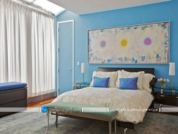 مدل اتاق خواب عروس دیزاین شده با رنگ آبی ، تزیین شیک و کلاسیک اتاق خواب عروس و داماد با هزینه کم و ارزان / عکس