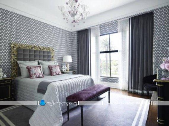 دیزاین اتاق عروس به شکل سلطنتی و کلاسیک با تزیینات شیک و زیبا ، طراحی دکوراسیون اتاق عروس با رنگ آبی و سرمه ای و سفید
