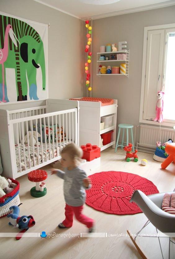 دکوراسیون اتاق نوزاد دختر با رنگهای شاد مثل قرمز و صورتی ، مدل تخت خواب و سرویس خواب کودک زیر دو سال، تزیینات ارزان قیمت اتاق نوزاد
