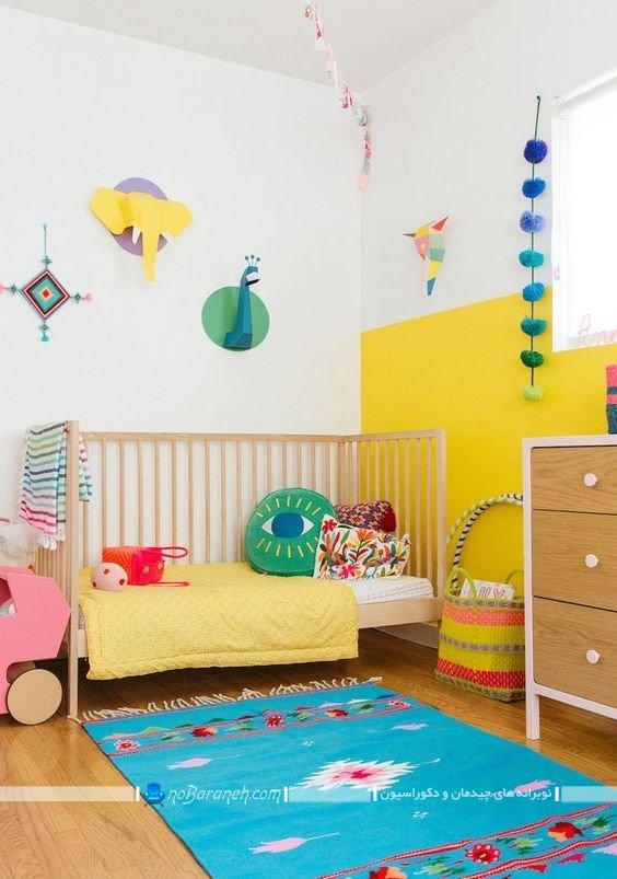 دیزاین اتاق کودک نوزاد با رنگهای شاد ، تزیینات شیک و زیبا برای اتاق نوزاد، عکس تزیین اتاق بچه نوزاد با هزینه کم و ارزان