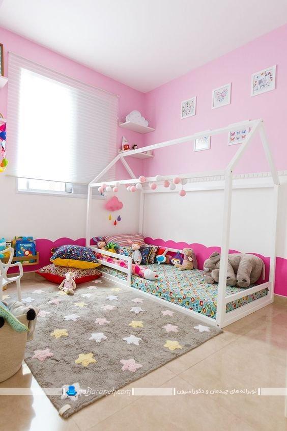 تزیین دخترانه اتاق کودک ، دیزاین اتاق بچه با رنگ صورتی و سفید برای نوزاد دختر ، تخت خواب مدرن و جدید برای کودک نوزاد با قیمت ارزان