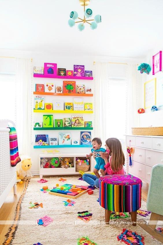 رنگ بندی مناسب اتاق نوزاد ، عکس دکوراسیون اتاق نوزاد با رنگ بندی شاد و زیبا ، مدلهای استفاده از رنگهای شاد در اتاق بچه ها و کودکان
