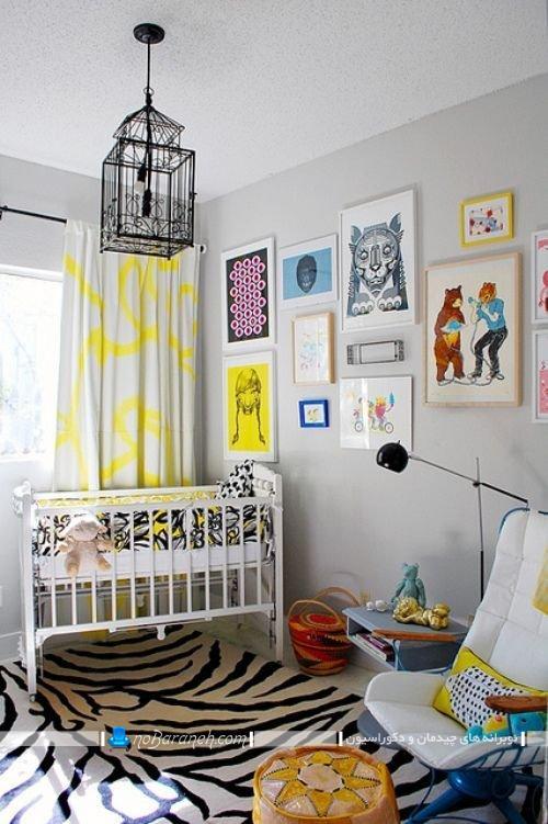 تزیین شیک اتاق نوزاد با رنگ بندی زیبا، دکوراسیون ساده و ارزان قیمت اتاق خواب کودک نوزاد ، تابلوهای تزیینی اتاق بچه نوزاد