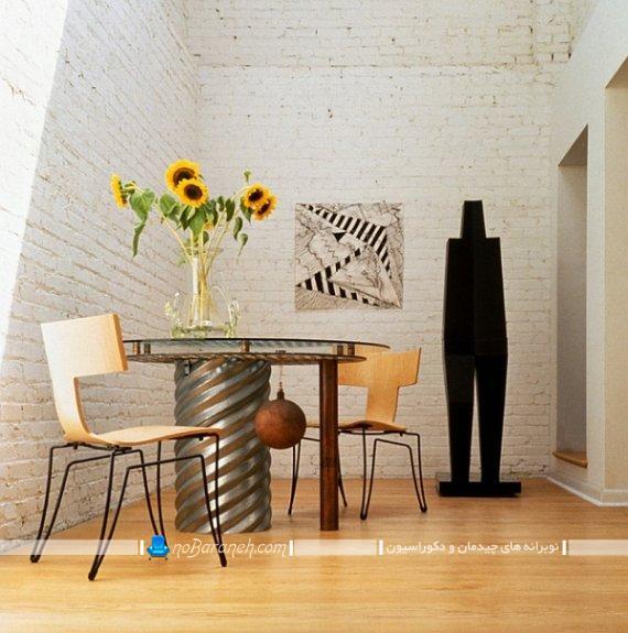 صندلی ناهارخوری بدون دسته ، صندلی چوبی و فلزی شیک مدرن برای نهارخوری