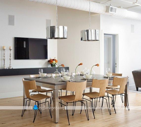 صندلی ناهار خوری چوبی و فلزی ، صندلی میز ناهارخوری 8 نفره با طراحی جدید و مدرن