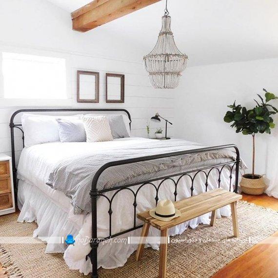چراغ و لوستر اتاق خواب کلاسیک ، عکس چراغ اتاق خواب به شکل کریستالی و سقفی با طرح کلاسیک و فانتزی