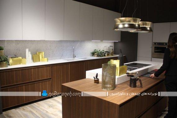 مدل جدید و مدرن کابینت آشپزخانه سفید قهوه ای شیک و زیبا