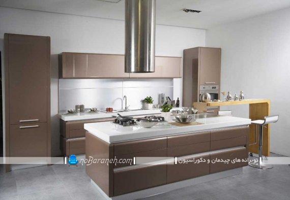 دکوراسیون آشپزخانه با رنگ قهوه ای