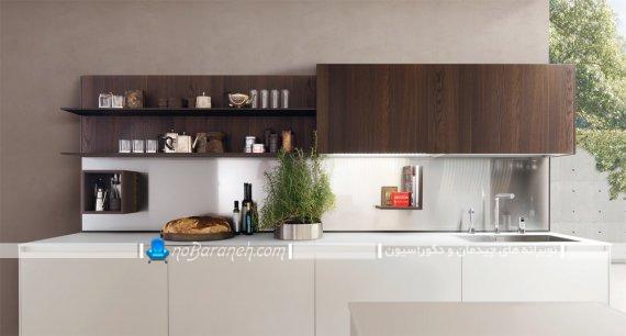 مدل کابینت با رنگ بندی سفید و قهوه ای برای آشپزخانه اپن