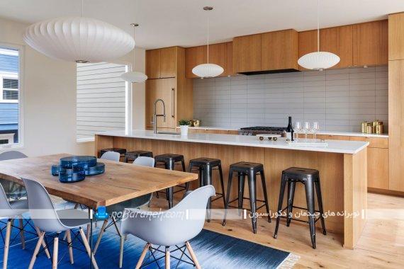 کابینت mdf قهوه ای با کاشی بین کابینتی سفید رنگ برای دکوراسیون شیک مدرن آشپزخانه با طراحی جدید