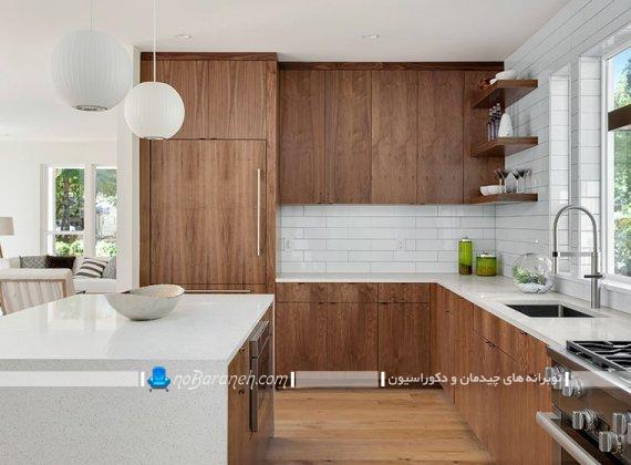 کابینت آشپزخانه سفید و قهوه ای ، کابینت ام دی اف mdf قهوه ای و سفید ، کاشی بین کابینتی مدرن سفید رنگ با طرح جدید