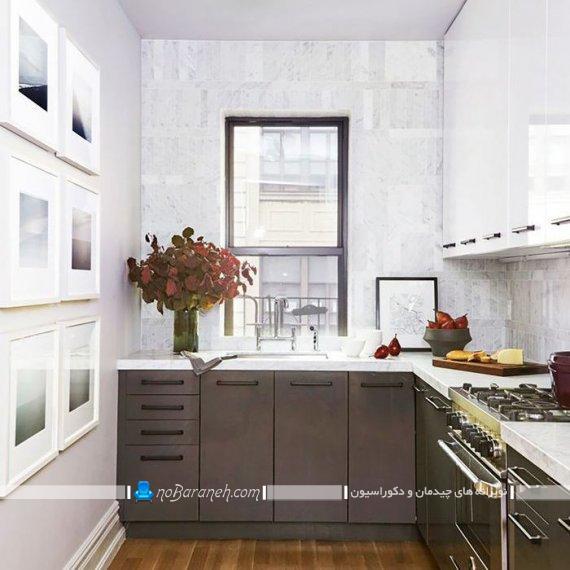 کابینت سفید قهوه ای آشپزخانه ، کابینت کاکایویی سفید آشپزخانه کوچک، مدل جدید کابینت مدرن و شیک آشپزخانه با طراحی زیبا