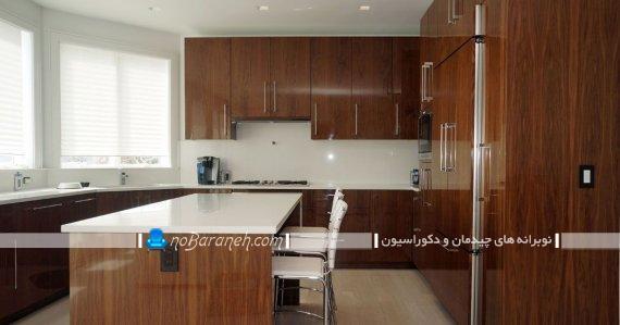 کابینت های گلاس قهوه ای به سبک جزیره ، دکوراسیون آشپزخانه با کابینت قهوه ای، مدلهای جدید کابینت mdf