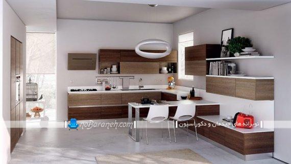 کابینت قهوه ای سوخته با جنس ام دی اف، کابینت شیک مدرن با طراحی جدید برای آشپزخانه اپن