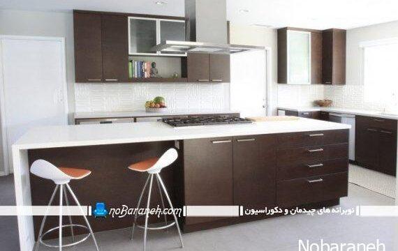 کابینت قهوه ای دکوراسیون قهوه ای مدرن آشپزخانه (11)
