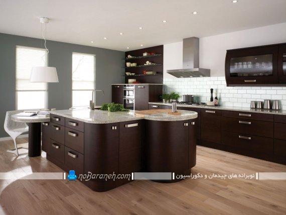 کابینت مدرن قهوه ای رنگ تیره ، مدل های جدید و شیک کابینت آشپزخانه جزیره ، کابینت فانتزی با میز جزیره گرد