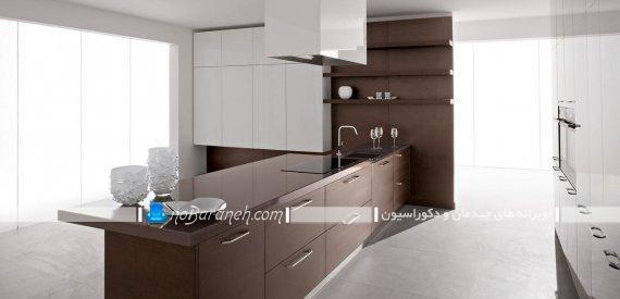 کابینت مدرن سفید و قهوه ای مات ، میز اپن با رنگ بندی قهوه ای ، کابینت سفید مدرن با طراحی باکس