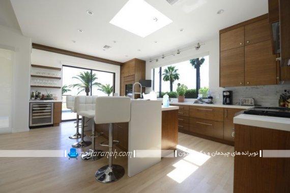 کابینت سفید و قهوه ای در آشپزخانه جزیره ، کابینت مدرن قهوه ای رنگ برای آشپزخانه اپن و بسته