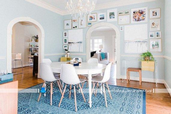 مدل میز ناهارخوری ارزان قیمت تزیین دیوار منزل با قاب عکس و تابلو تزیین شیک منزل با قاب عکس کوچک و بزرگ. مدل های چیدمان و نصب قاب عکس روی دیوارهای منزل