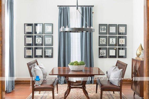 میز ناهارخوری دو نفره چوبی کلاسیک اتاق ناهار خوری کلاسیک با تزیینات زیبا. تزیین دیوارهای منزل به شکل کلاسیک با تابلو و قاب عکس دیواری زیبا. ایده های خلاقانه برای دیزاین اتاق نهارخوری