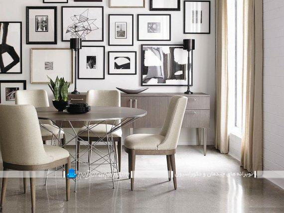 میز ناهارخوری دایره مدرن شیک فانتزی گرد دایره تزیین دیوار پذیرایی با تابلوهای مدرن شیک فانتزی. قاب عکس های شیشه ای برای تزیین اتاق نهارخوری