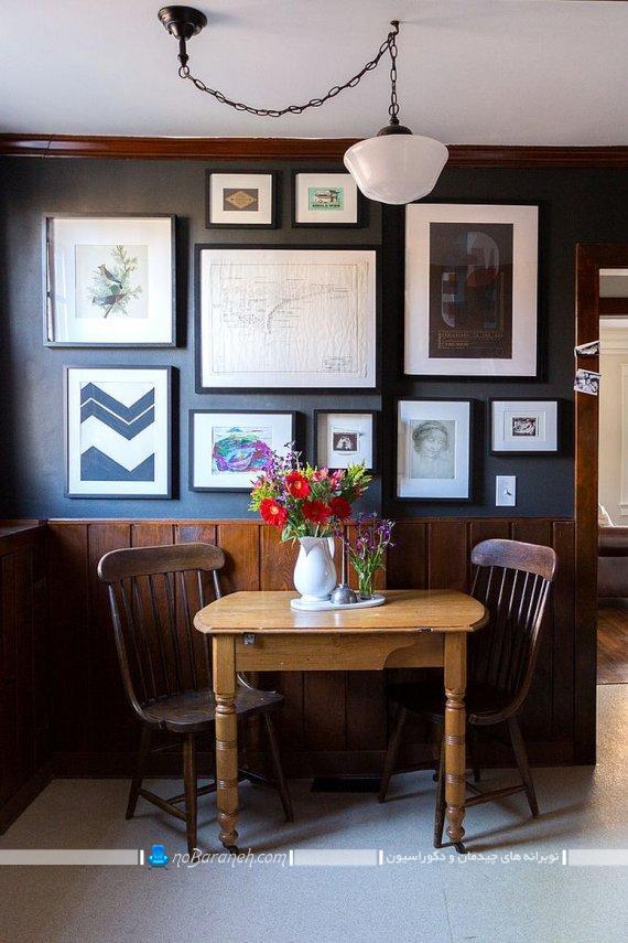 مدل میز ناهارخوری دو نفره چوبی کوچک کلاسیک تزیین دیوار اتاق ناهارخوری کوچک با تابلو عکس. تزیینات ارزان قیمت دیواری برای دکوراسیون منزل