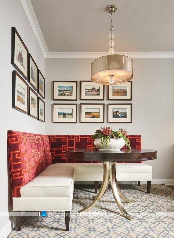 میز ناهارخوری گرد کوچک لوستر میز ناهارخوری مدل های نصب قاب عکس روی دیوار منزل. ایده های خلاقانه برای تزیین دیوارها با قاب عکس های مدرن و شیک