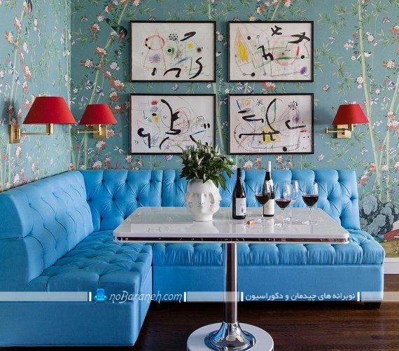 میز ناهارخوری مربع کمجا. مدل جدید چیدمان میز نهار خوری. مدل های جدید تزیین دیوار منزل با قاب عکس های دیواری شیک و مدرن زیبا. تزیین دیوار منزل با وسایل ساده