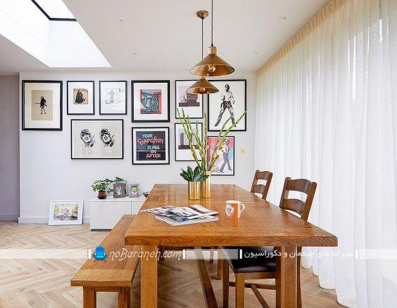 میز ناهارخوری. میز نهارخوری. تزیین میز نهارخوری تزیین اتاق ناهارخوری با تابلو و قاب عکس دیواری شیک مدرن فانتزی کلاسیک زیبا