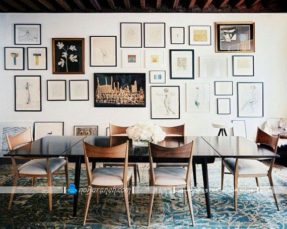 ناهارخوری مدرن با تزیینات دیواری شیک. تزیین دیوار ناهارخوری تبدیل دیوار منزل به گالری عکس با نصب قاب عکس و تابلوهای شیک و مدرن دیواری زیبا
