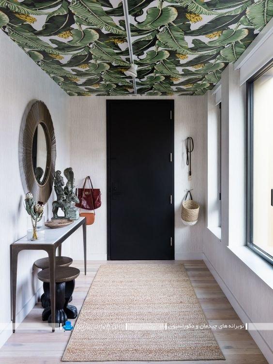 تزیین سقف راهرو منزل با کاغذ دیواری تزیینی شیک مدرن فانتزی گل و طبیعت