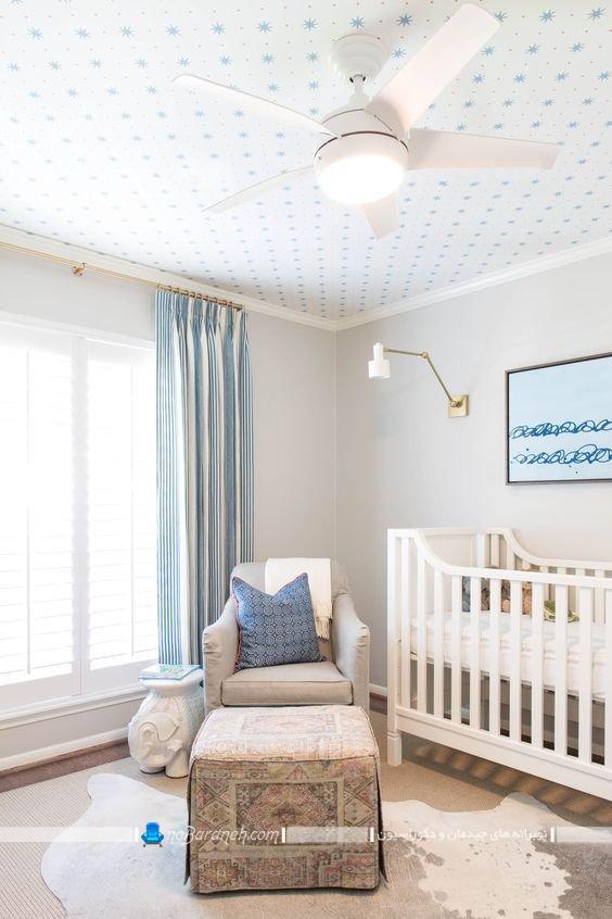 تزیین سقف اتاق نوزاد با کاغذ دیواری. مدل های جدید تزیین شیک و مدرن اتاق نوزاد و سقف اتاق بچه.