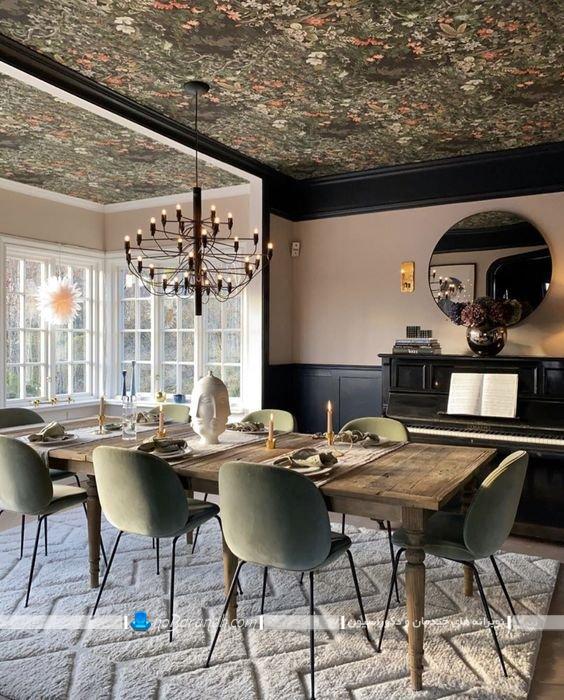 کاغذ دیواری گلدار برای تزیین سقف اتاق ناهارخوری