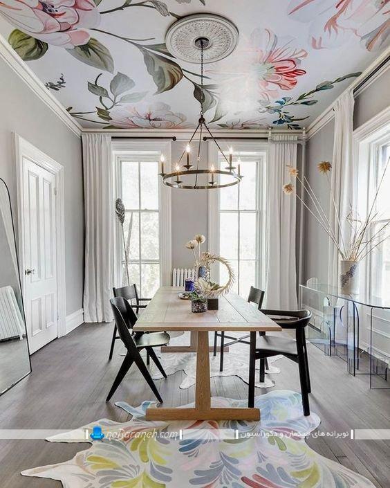دیزاین اتاق ناهار خوری با کاغذ سقفی. تزیین سقف اتاق ناهارخوری به شکل شیک و فانتزی